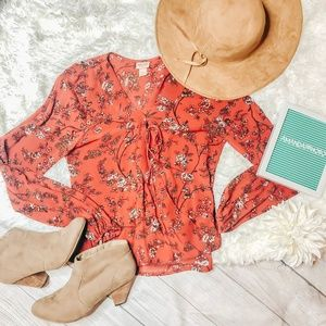 Mossimo Red Floral Blouse Size Small